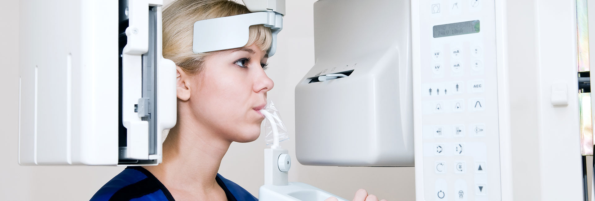 A patient getting a dental xray
